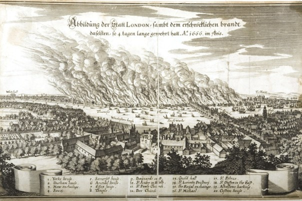 Image of Great Fire of London from 'German newspaper' c1666 courtesy London Fire Brigade