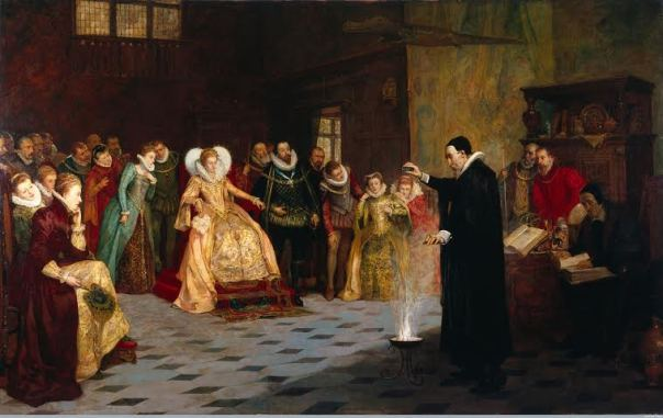 John Dee Performing an Experiment Before Elizabeth I by Henry Gillard Glindoni 1852-1913 copyright Wellcome  Library, Wellcome Collection Large Version - Copy