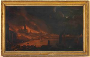 Fire of London, Dutch school C1666, By kind permission of The Society of Antiquaries of London (pre conservation) framed 050816