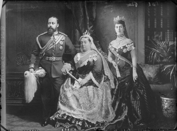 NPG x95831; King Edward VII; Queen Victoria; Alexandra of Denmark by and after Alexander Bassano
