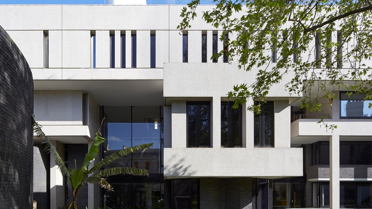 Southern elevation of the Royal College of Physicians by Sir Denys Lasdun