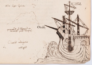 Sketch of Ship, Annotation by John Dee to Volume II of the Collected Works of Cicero large version