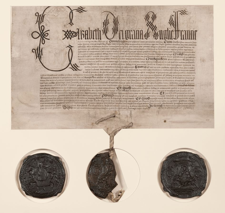 Charter granting the RCP the right to dissect the bodies of condemned prisoners, granted by Elizabeth I