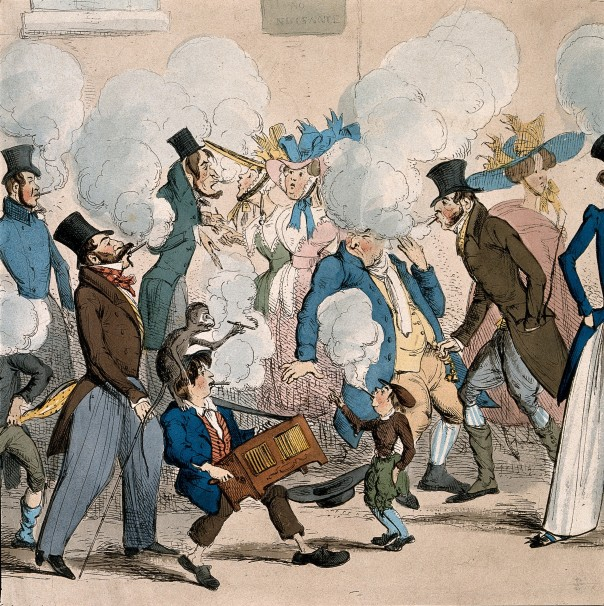 People causing a nuisance by smoking in the street. Coloured etching by H. Heath, 1827 (c) Wellcome collection